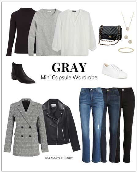 classy yet trendy, black mock neck tee, white blouse, gray sweater, plaid blazer, leather jacket, medium wash jeans, dark wash jeans, black jeans, black ankle boots booties, white casual sneakers