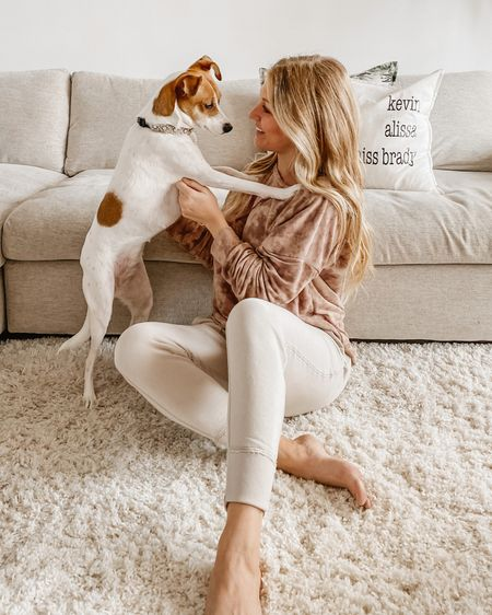 National puppy day with my favorite. She loves our shag area rug! My joggers are on sale for under $20 at checkout and this maybe tie dye pullover is from LemonLun 🍋 http://liketk.it/2LWga @liketoknow.it #liketkit #LTKhome #LTKunder50 #LTKsalealert