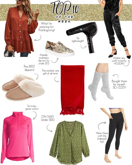 Looks like a lot of you found the perfect Thanksgiving Day outfit-pair the babydoll top with the leggings and slip on some fluffy slippers or cozy socks for the win! For those that wanted glam, you can even glam up an old sweatshirt if you wear it with the satin joggers and metallic snakeskin sneakers! What were your faves from last week? Who's ready for some turkey?! 🙋🏼♀️ Dont forget you can save 20% at @gibsonlook with my code MARNIE20! #mostloved #bestsellers #thanksgivingoutfit #giftideas #cozysocks #top10 #founditonamazon #walmartfinds #StayHomeWithLTK #LTKgiftspo #LTKFall #liketkit @liketoknow.it http://liketk.it/31FbQ