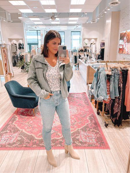 Fall outfits Green bomber jacket AGolde Straight leg jeans Booties Chaser leopard tee   #LTKshoecrush #LTKstyletip #LTKunder100