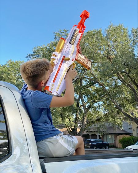 Beau knows @nerf! He bought this with his own money so now I know I can recommend it as a great gift. I wish had a video because he researched the heck out of it and he could show us all the bells and whistles. But from what I recall, Ultra Blasters have the farthest and the fastest blasting darts and through this specific blaster is the only way to get the Gold Ultra Darts. ✨ I was surprised by it's $49.99 price tag because it's BIG and fancy with the gold accents and power. 💥💥 And  I asked his friends on the street if they would want it for Christmas and got an emphatic, oh yeah!  So if you're shopping for a kiddo who likes targeting things and having nerf battles, this blaster might also give you some street cred because it's the newest blaster out there. I'm telling you, Beau knows @nerf!   For a shortcut to this specific blaster, go to my profile @tellittoyourneighbor and tap on the linktr.ee. Or you can find me and all my product posts in the @liketoknow.it app. Thank you for the support!   http://liketk.it/31J1p #liketkit   #LTKkids #LTKgiftspo @liketoknow.it.family