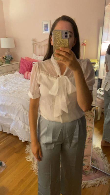 Dress pants, date night, office outfit, chicwish, satin pants, pjs pants, wide leg pants, white top, tie top, for the office, business casual, business professional  #LTKworkwear #LTKfit #LTKunder100