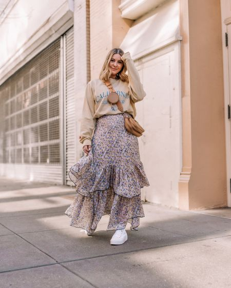 Graphic sweatshirt & floral skirt. Cozy spring inspo!! (My exact skirt is an older UO find but linked similar!) • http://liketk.it/3f3Fi @liketoknow.it #liketkit