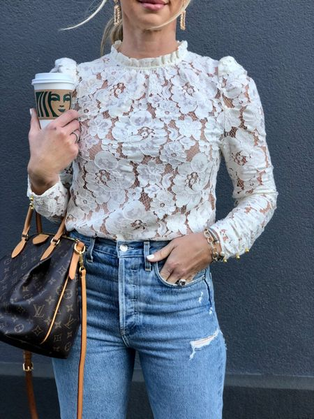 Holiday outfit inspo lace top Agolde jeans   #LTKstyletip #LTKHoliday #LTKunder100