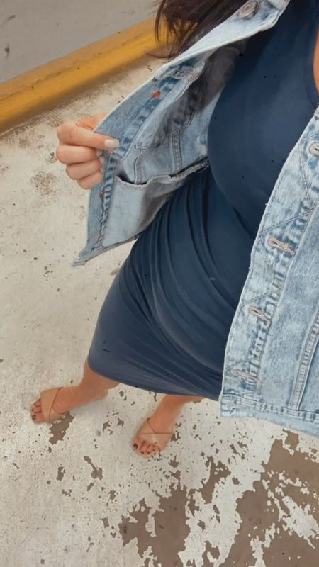 Outfit of the day  . . . #bodycondress #denimjacket #amazonfind #amazonfashion #casualstyle #casual #dresses   #LTKbump #LTKunder50