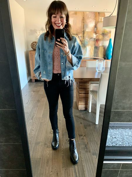 Cute, casual outfit with my @gibsonlook lace bodysuit, distressed denim jacket and combat boots! #lastseenwearing   Gibson Look lace bodysuit, H&M distressed denim jacket, black combat boots, Sam Edelman combat boots, fall outfit, fall transition outfit, shopping outfit, black boots,    #LTKshoecrush #LTKstyletip #LTKunder100