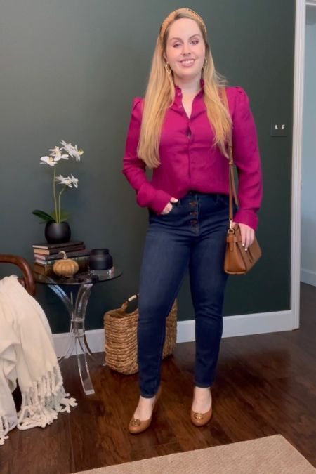 Work outfits, business casual Wearing this express ruffle neck blouse in the color wild orchid (comes in 2 other colors) with Madewell dark wash high rise button front denim and Tory Burch wedges. Casual Friday, fall outfit   #LTKworkwear #LTKstyletip #LTKunder50
