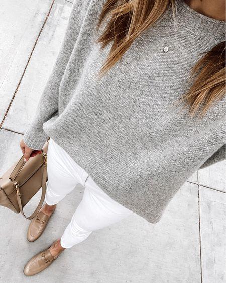Jenni Kayne everyday cashmere sweater (JACKSON15 for a discount) #falloutfit #whitejeans   #LTKshoecrush #LTKunder100 #LTKstyletip