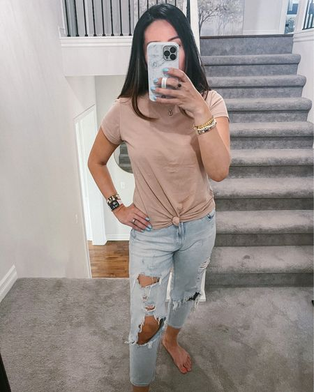 Softest knotted crew t-shirt and fave affordable mom jeans. Gimme all the basics! http://liketk.it/3e4L3 #liketkit @liketoknow.it #LTKunder50 #LTKstyletip