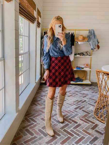Cutest pull on plaid skirt and top from Loft! Top also comes in white // tts, I'm wearing xs in both! Currently 40% off right now!   #LTKSeasonal #LTKsalealert #LTKHoliday