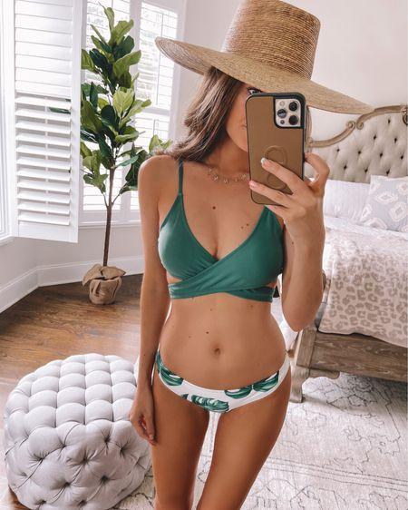 Amazon Prime Day Deal! This swimsuit is on sale! http://liketk.it/3i31O #liketkit @liketoknow.it #LTKsalealert #LTKswim #LTKunder50 palm print, bikini, summer fashion, swim, straw hat, Amazon find