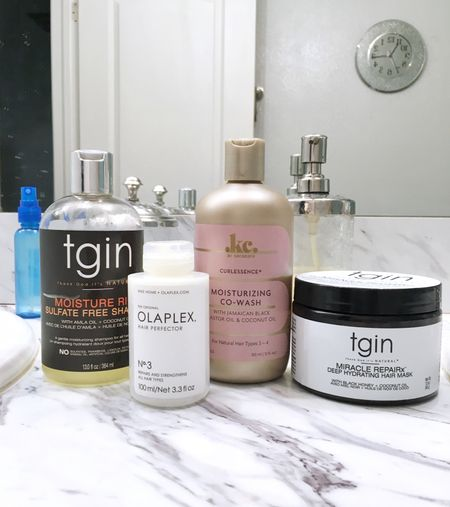 Products used during my midweek wash from the brands TGIN, Olaplex, and Keracare. #Relaxedhair #haircare  http://liketk.it/3f3i7 @liketoknow.it #liketkit #LTKbeauty