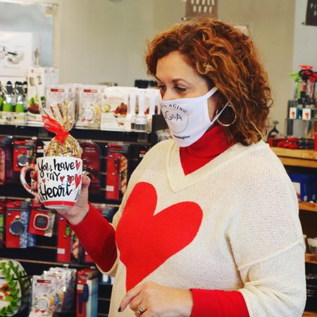 Cute heart v-neck sweater. For warmer climates, wear by itself.    #LTKcurves