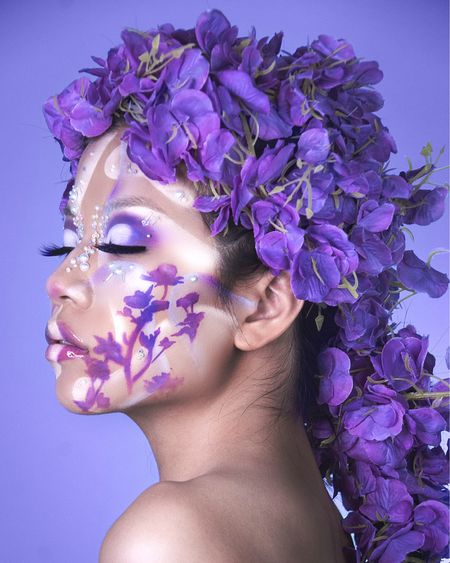 LAVENDER AVANT-GARDE MAKEUP  GET THE LOOK:  NYX Professional Makeup Bare With Me Hydrating Jelly Primer* Ben Nye Makeup Matte HD Foundation Palette (Diverse Harmony)* CC Beauty 12 Flash Color Case NYX Professional Makeup Color Correcting Concealer Concealer* NYX Professional Makeup Mystic Petals Shadow Palette (Midnight Orchid)* Makeup Revolution Rainbow Shadow Palette* Anastasia Beverly Hills False Lashes NYX Professional Makeup Epic Ink Liner in Black* NYX Professional Makeup SFX Set Loose Setting Powder* Kiss Products Strip Lash Adhesive with Aloe (Clear)  *gifted Edited with Lightroom and Photoshop http://liketk.it/3fs9d #liketkit @liketoknow.it #LTKbeauty