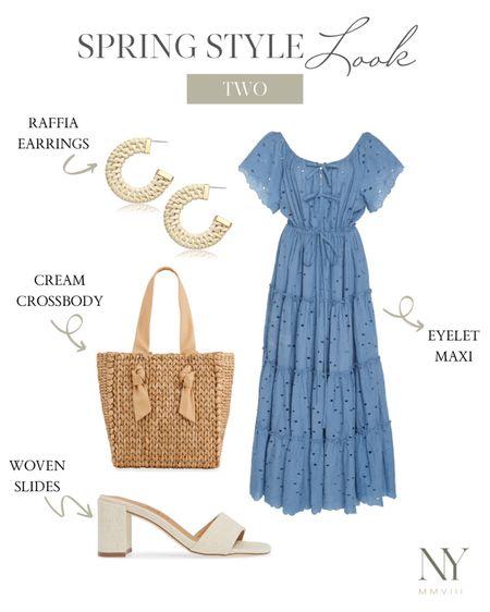Blue dress, blue maxi dress, blue summer dress, date night dress, straw bag, straw tote bag, raffia earrings, white sandals, linen sandals, white slides, natalie yerger http://liketk.it/2Pou8 #liketkit @liketoknow.it