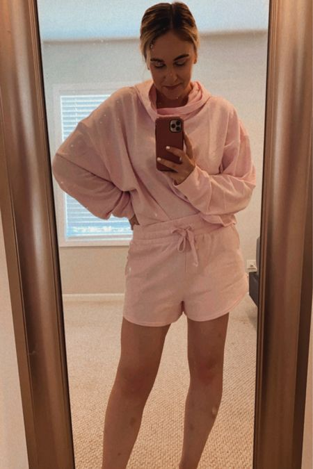 Fabletics matching short and cropped hoodie set for summer in pink! Super cute! http://liketk.it/3hfDZ #liketkit @liketoknow.it #LTKunder100 #LTKunder50 #LTKfit Download the LIKEtoKNOW.it shopping app to shop this pic via screenshot