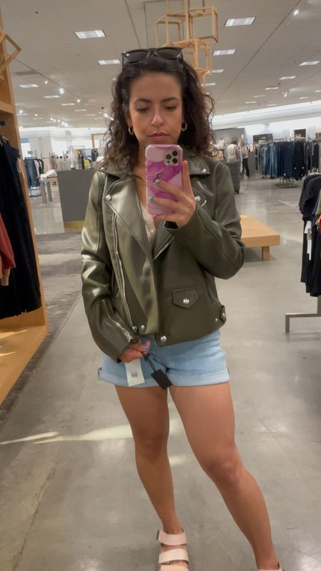 Love this olive green faux leather Moto Jackey by Blank NYC. It's true to size (wearing a small) and perfect length for my petite ladies! And it's on sale for under $60   #LTKunder100 #LTKsalealert