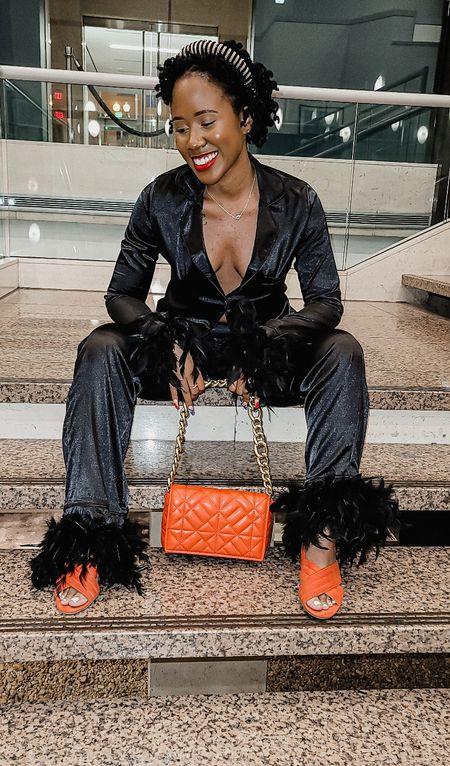 Orange purse  matching set  feather set  pajamas  mules  boohoo  Shein  Amazon  rinestone headband