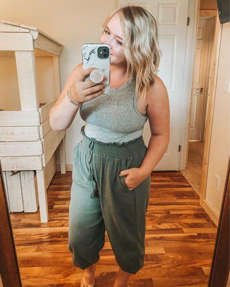 Slim fit tank and jogger outfit- wearing a medium in both! Aerie joggers, linen blend joggers, breezy jogger, target tank, $8 tank, loungewear, tassel jogger, rib knit tank, casual outfit   http://liketk.it/2T4QJ #StayHomeWithLTK #LTKsalealert #LTKstyletip #liketkit @liketoknow.it