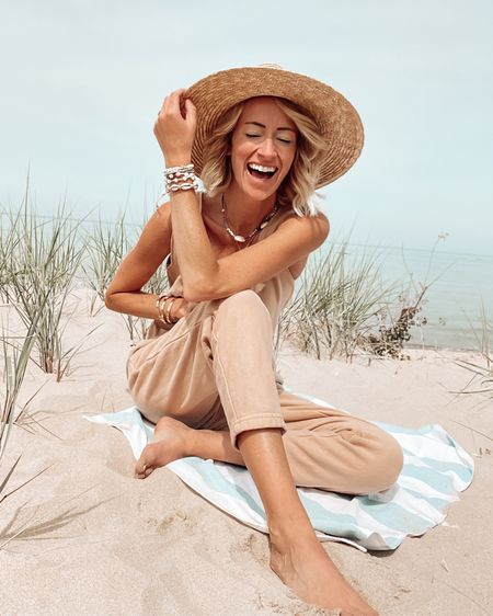 Save on TKEES sandals and playsuit with code JENNAMADEMEDOIT Jumpsuit romper loungewear Summer beach vacation outfit ideas  Cozy Seashell bracelets and brixton hat http://liketk.it/3i4kx @liketoknow.it #liketkit