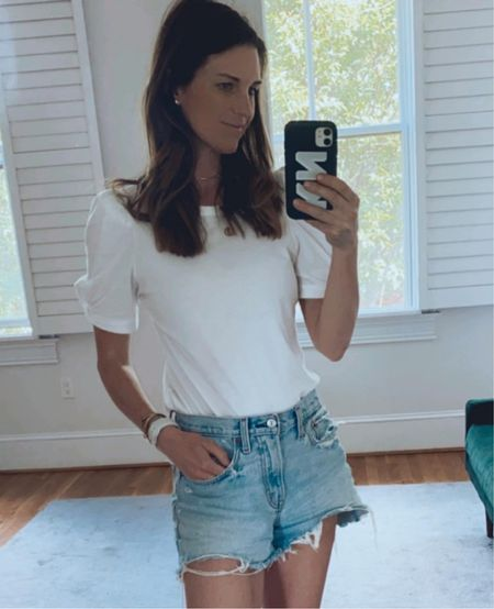 Fourth of July outfit, baseball outfit, summer look, July forth, casual summer, cutoff denim jeans, puff sleeve   #LTKunder100 #LTKstyletip #LTKSeasonal
