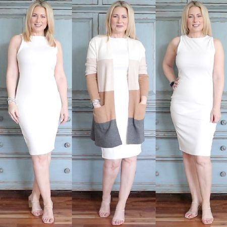 A body con dress that works on everyone. Runs true to size. Right at the knee length. Slightly ribbed material helps disguise lumps and bumps. Also comes in black. Wear it now and wear into fall with a cardigan and knee high boots. #founditonamazon #amazonfashion #bodycon #summerdress #falldress #datenightoutfit #LTKunder50 #LTKstyletip #LTKshoecrush #liketkit @liketoknow.it http://liketk.it/3jSEY