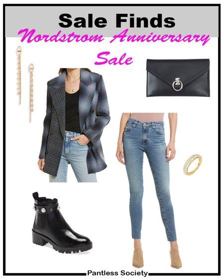 NSale. Nordstrom Anniversary Sale. Plaid. Blazer. Patchwork blazer. Work outfit. Mom outfit. Date outfit. Night out. Belt bag. On sale. Sale picks. Sale style. Nordstrom sale. Nordstrom style. Black boots. Gold accessories.   #LTKsalealert #LTKworkwear #LTKstyletip