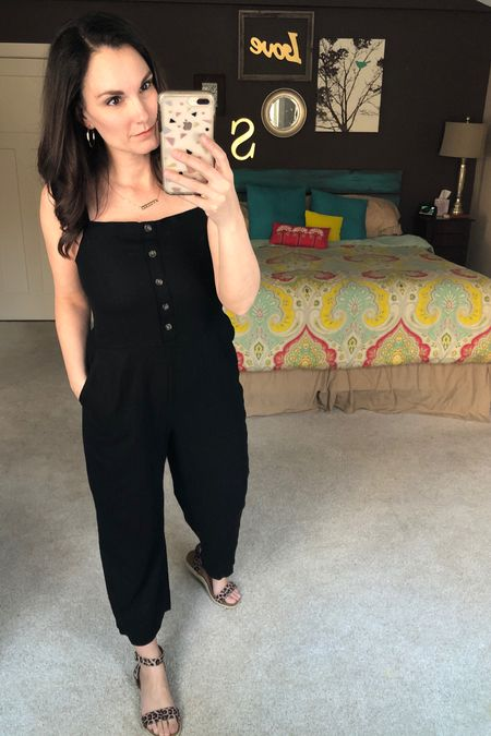 """@oldnavy is having an """"everything under $20 sale"""" and this square-neck linen-blend cami jumpsuit is a must have for Summer. So cute worn casually with a denim jacket layered over or dressed up for a Summer event. I love the button detail and the light linen material. http://liketk.it/2N3WM #liketkit @liketoknow.it #LTKsalealert #LTKspring #LTKstyletip Shop your screenshot of this pic with the LIKEtoKNOW.it shopping app"""