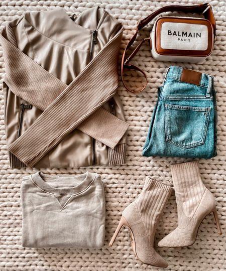 Faux Leather Moto Jacket for Fall, Fall Pullover, Madewell Jeans, Fall Booties, Balmain Bag  #LTKSeasonal #LTKshoecrush #LTKunder100
