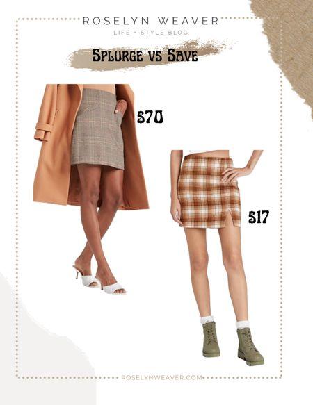 Splurge vs save - plaid mini skirt     #LTKunder50 #LTKstyletip #LTKunder100