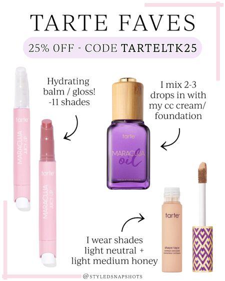 Favorite Tarte beauty products // 25% off with code TARTELTK25 #LTKbeauty #LTKunder50 #LTKsalealert #liketkit @liketoknow.it http://liketk.it/3hu31