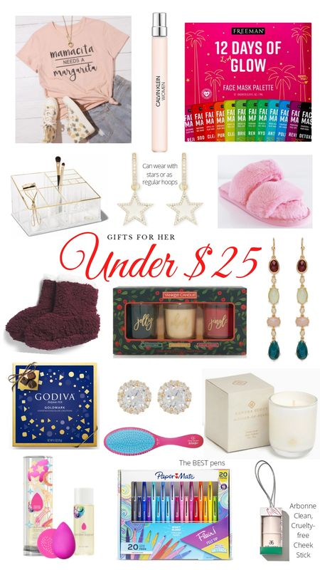 Christmas Gift Guide for Women. Gift ideas for your bestie, mom, sister, or girlfriends. Shirt, perfume, face masks, beauty organizer, star earrings, fuzzy slippers, candles, Godiva chocolate, hair brush, Kendra Scott, Beauty Blender, Flair pens. http://liketk.it/31kid @liketoknow.it #liketkit #LTKgiftspo #LTKunder50 #LTKunder100 #LTKsalealert #LTKbeauty #LTKhome #LTKfamily