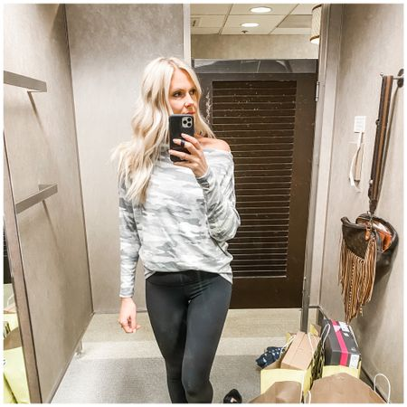 Off the shoulder lightweight and soft camo top with the perf leggings.  http://liketk.it/3k7xP   @liketoknow.it   #liketkit