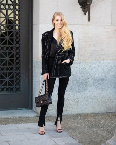 Black plaid blazer by anine bing Black point legging pants with split hem. They have a high waist and excellent stretch. Paired with simple black sandals and my Chanel Classic medium. This look is perfect year round either for a chilly spring day or fall.   #LTKstyletip #LTKeurope #LTKworkwear