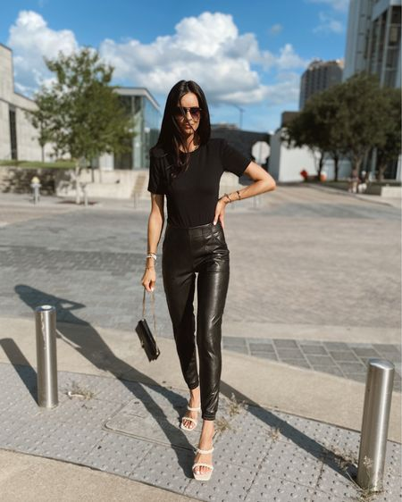Sized down to an xS in these joggers http://liketk.it/3jWFB @liketoknow.it #liketkit #LTKshoecrush #LTKsalealert #LTKunder50 Nordstrom Anniversary Sale, nsale, spanx, joggers, leather pants, fall outfit, fall style, black outfit