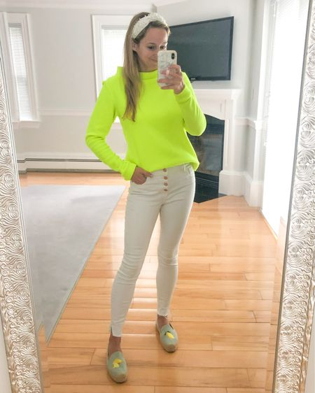 Nothing says spring like the brightest top you can find. Add in some white jeans and lemon shoes and you're ready to go! http://liketk.it/3eFxW @liketoknow.it #liketkit #LTKstyletip #LTKshoecrush
