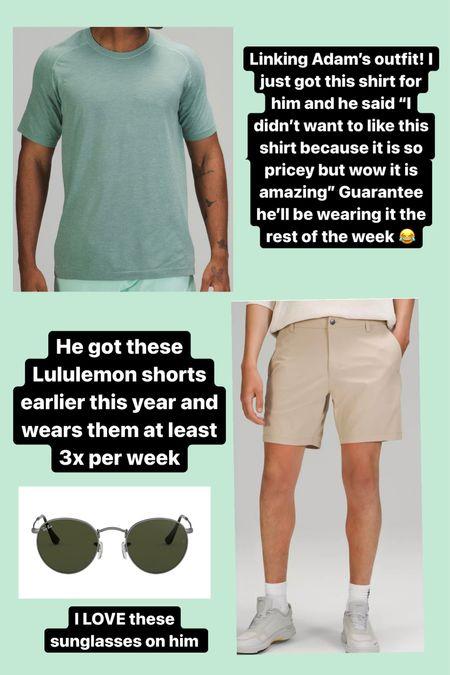 Men's Lululemon favorites I just got for my husband! Also love when he wears these Rayban sunglasses! #mensclothing #mens #mensfashion #lululemon #rayban  #LTKfit #LTKmens #LTKunder100