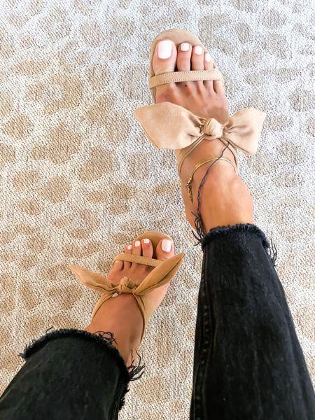 Bow sandals on sale size 7  #LTKshoecrush #LTKsalealert #LTKunder100