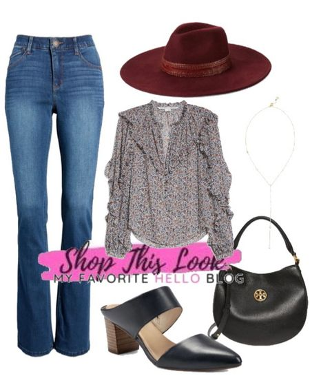 Nordstrom sale casual fall outfit. Fall casual weekend outfit. Bootcut jeans and felt hat and black mules. http://liketk.it/3jUoF #liketkit @liketoknow.it #falloutfit #nsale #nordstrom #falloutfitideas  #LTKstyletip #LTKshoecrush #LTKsalealert