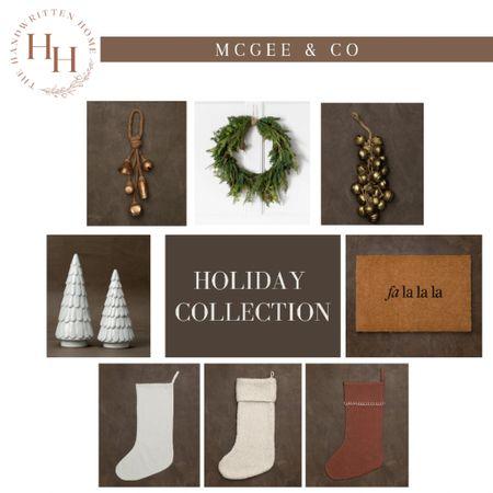 McGee and Co Holiday Collection is gorgeous   Christmas decor   studio McGee Christmas   McGee & co holiday   holiday stockings   sleigh bells   Christmas doormat   jingle bells   vintage bells  #LTKsalealert #LTKSeasonal #LTKhome