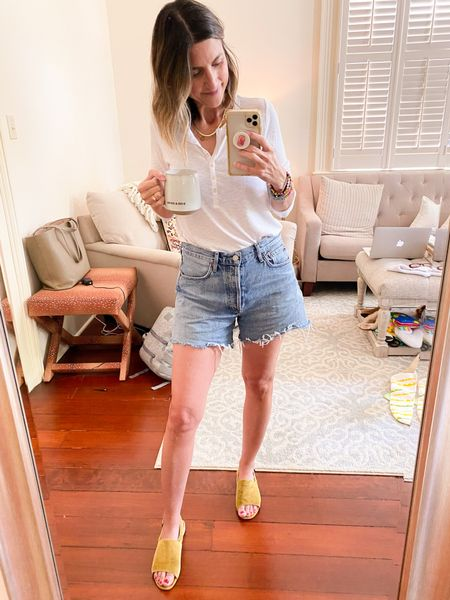 Aerie Henley on MAJOR sale! $14 Runs TTS. Wearing small. Paired with the BEST denim shorts! Not tight, perfect length. Run TTS and worth every penny. Madewell sandals aren't available in this color, but I also have them in black and LOVE!   #LTKstyletip #LTKunder50