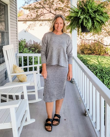 Casual everyday fall sweater knit set ribbed midi comfy slouchy matching set for mom or teacher to dress up or down #teacher #mom #walmart #affordable #matchingset #knitset #sweaterset #gray #ribbed #ribknit #comfy #everyday #Petite #Sunday #Casual #heathergray http://liketk.it/3mgnY @liketoknow.it #liketkit