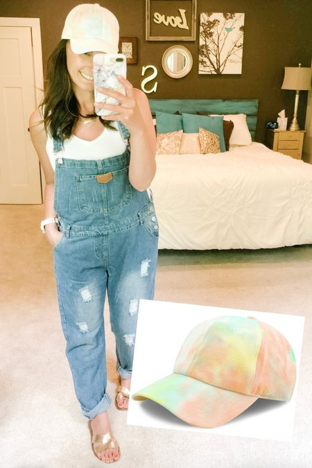 I'm obsessed with these denim overalls and the tie dye ball cap! I think I now need to try some black overalls or maybe some shorts. I did size up for a more baggy fit.  http://liketk.it/2PHuQ #liketkit @liketoknow.it You can instantly shop all of my looks by following me on the LIKEtoKNOW.it shopping app