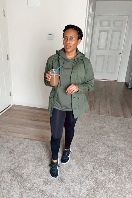 Got my Caramel Frappuccino in hand and ready to go! Learn how to style leggings in four ways on my blog at www.atalktoremember.com. #jacket #utilityjacket #hoodie #pullover #leggings #workout #sneakers #runningshoes #outfit   #LTKstyletip #LTKSeasonal #LTKfit