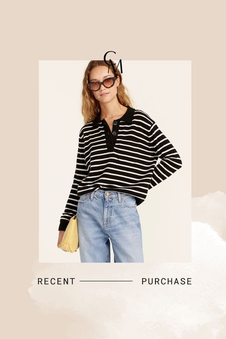 J.Crew cashmere collared stripe sweater    #LTKSeasonal