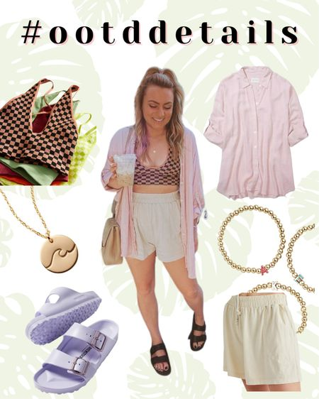 Casual summer outfit Free people style Bralette Checkered Oversized shirt Comfy summer clothes   #LTKtravel #LTKunder100 #LTKstyletip