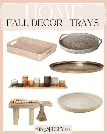 Fall decor trays coffee table style affordable neutral   #LTKhome #LTKstyletip #LTKSeasonal