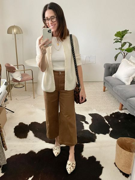 Cardigan - sezane true to size Shoes - ABLE (1/2 up) code ARTINTHEFIND25 for 25% off Pants - wide leg crop in ochre from Everlane  Bag - Clare V Tank - @soldoutnyc - use code CONNIVIP20 for 20% off   #LTKstyletip #LTKitbag #LTKshoecrush
