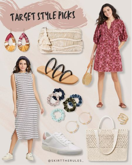 Target fashion, Target finds, summer fashion, summer dress, spring dress, graduation dress, bridal shower dress, beach vacation outfits: dark pink floral dress with pockets, straw clutch, straw statement earrings, black slide sandals, black and white striped tank dress, white sneakers, colorful scrunchies set, gold hoop earrings, gold spiral ring, straw tote bag. @liketoknow.it http://liketk.it/3eUyx #liketkit   #LTKunder50 #LTKstyletip