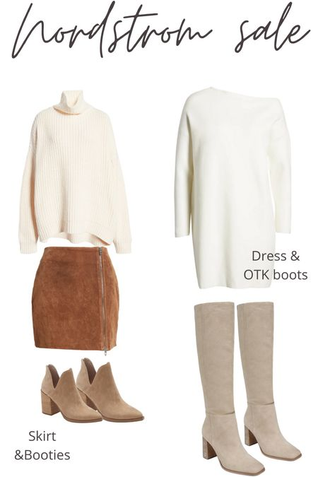 Loving these neutrals for fall too! If you stick with neutrals, it's so easy to style them and mix and match! Love both of these boot options and everything cream colored! Suede skirt. Knee high boots. Sweater dress. Chunky sweater. Ankle booties.  #LTKunder50 #LTKSeasonal #LTKshoecrush